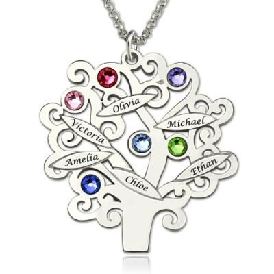 Gravierte Familie Baum Halskette mit GLÜCKSSTEIN Sterling Silber