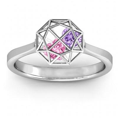Personalisierte Diamant Cage Ring mit Encased Herz Steine
