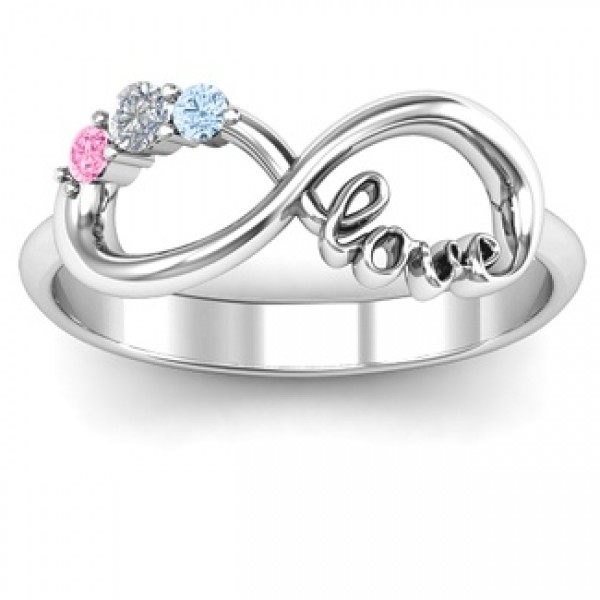 Customized Unendlichkeit Promise Ring mit Birthstone Unendlichkeit Love Ring