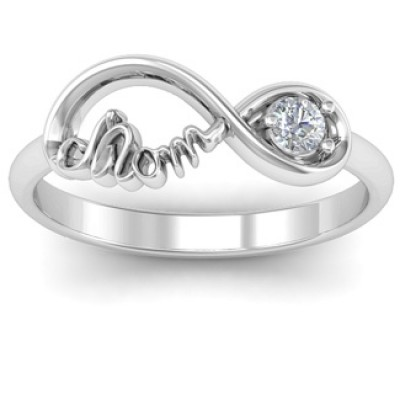 Mom Infinity Bond Ring mit Birthstone