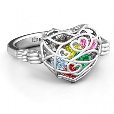 Verpackt in Liebe Caged Herz Ring mit Butterfly Wings Band