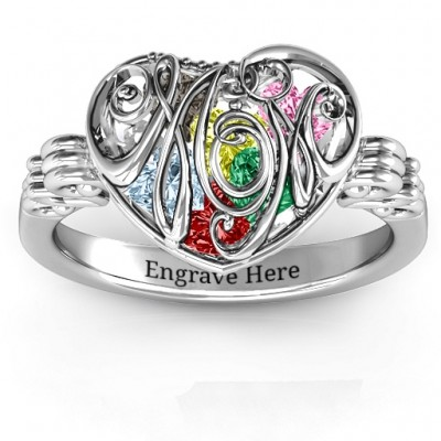 Cursive Mom Caged Herz Ring mit Butterfly Wings Band