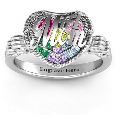 # 1 Mom Caged Herz Ring mit Butterfly Wings Band