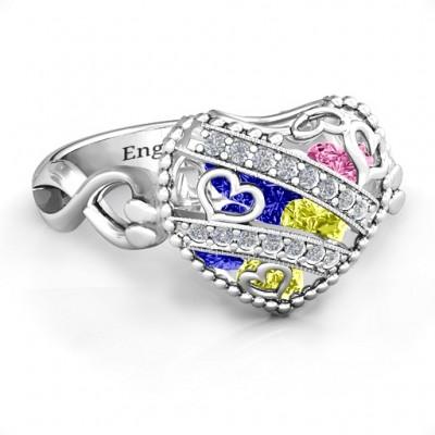 Die funkelnde Diamant Herzen Caged Herz Ring mit Infinity Band