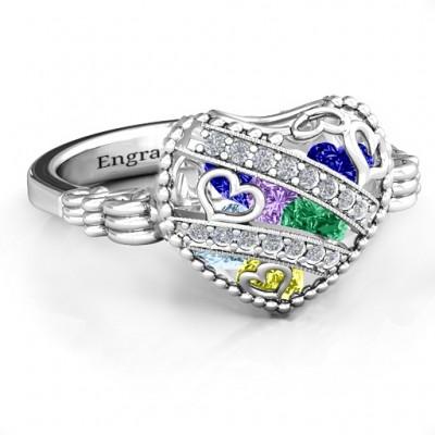 Der funkelnde Diamant Herzen Caged Herz Ring mit Butterfly Wings Band