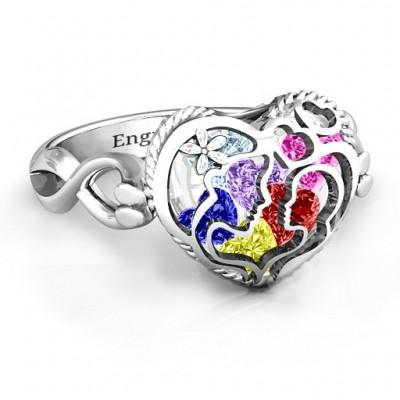 Mutter und Kind Caged Herz Ring mit Infinity Band