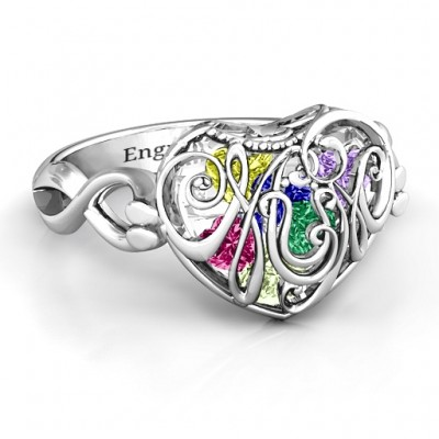 Mamma Herz Caged Herz Ring mit Infinity Band