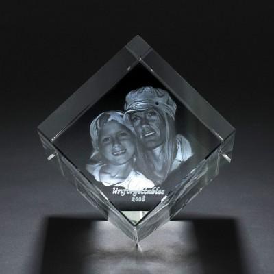Platz Kristall mit Foto / Text Gravur Innen