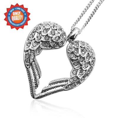 Personalisierte Engel Herz Sterling Silber