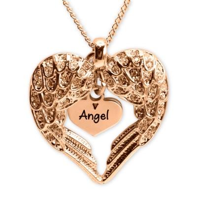 Personalisierte Engel Herz Halskette mit Herz Einsatz 18ct Rose Gold