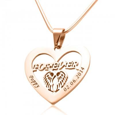 Personalisierte Engel in meinem Herz Halskette 18ct Rose Gold überzogen