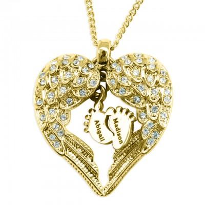 Personalisierte Engel Herz Halskette mit Füßen Insert GOLD