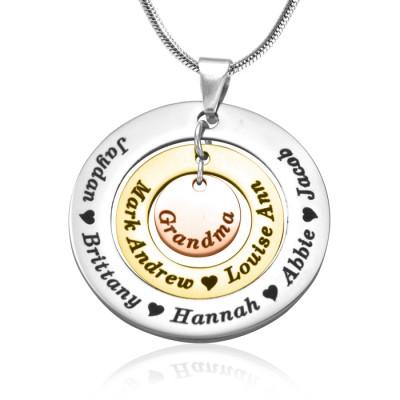 Personalisierte Kreise der Liebe Halskette Drei Ton Rose Gold Silber