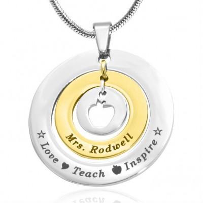 Personalisierte Kreise der Liebe Halskette Lehrer ZWEI TON Gold, Silber,