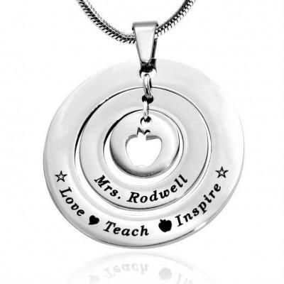Personalisierte Kreise der Liebe Halskette Lehrer Sterling Silber