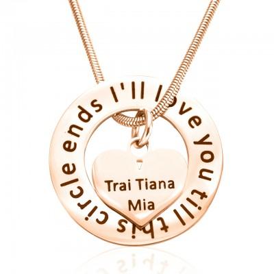 Personalisierte Kreis Mein Herz Halskette 18ct Rose Gold überzogen