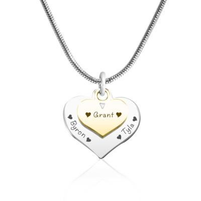 Personalisierte Doppel Herz Halskette Zwei Ton Goldn