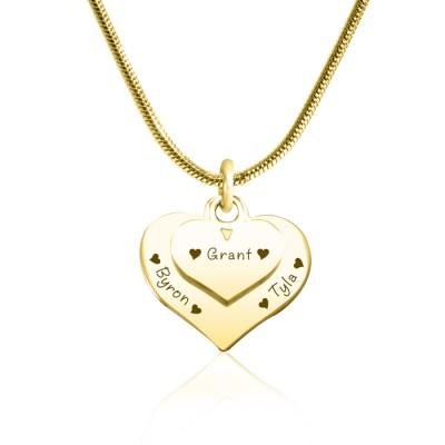 Personalisierte Doppel Herz Halskette 18 karätigem Gold überzogen