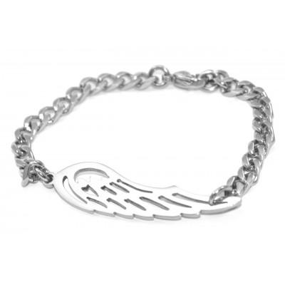 Personalisierte Engel Flügel Armband Silber
