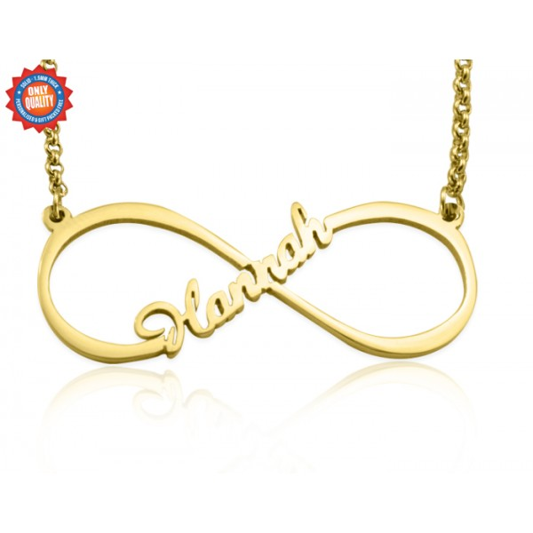 Personalisierte Einzel Unendlichkeit Namenskette 18 karätigem Gold überzogen