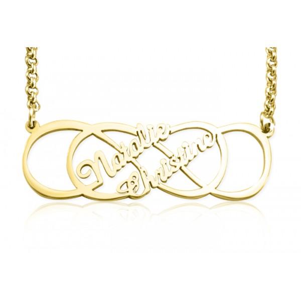 Personalisierte Unendlichkeit X Unendlichkeit Namenskette 18 karätigem Gold überzogen