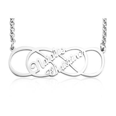 Personalisierte Unendlichkeit X Unendlichkeit Namenskette Sterling Silber