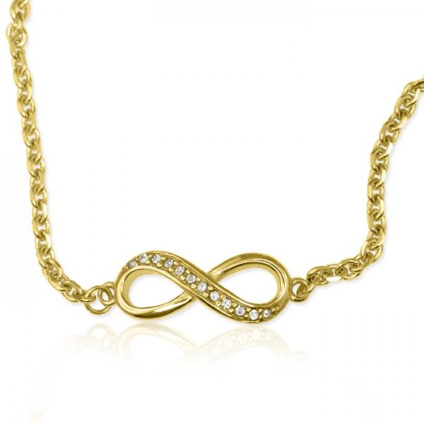 Personalisierte Crystal Infinity Armband / Fußkette 18 karätigem Gold überzogen