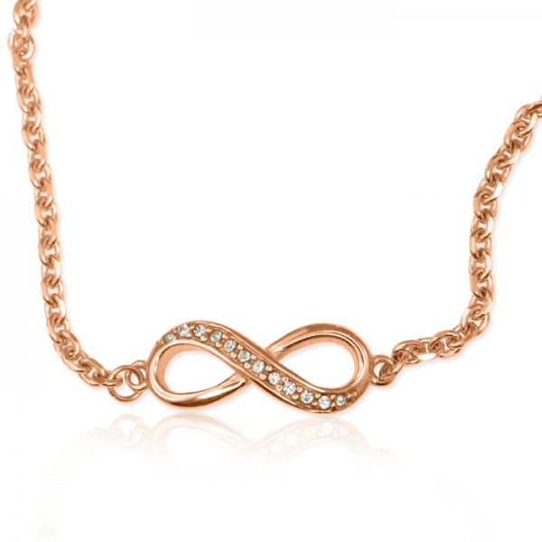 Personalisierte Crystal Infinity Armband / Fußkette 18ct Rose Gold überzogen