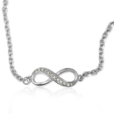 Personalisierte Crystal Infinity Armband / Fußkette Sterling Silber