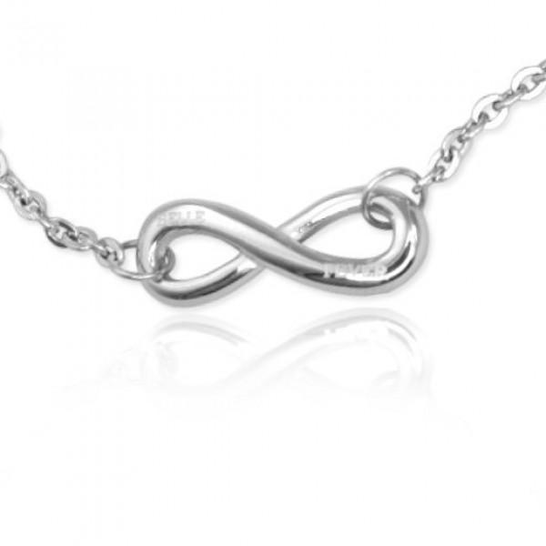 Personalisierte Klassische Unendlichkeit Armband / Fußkette Sterling Silber