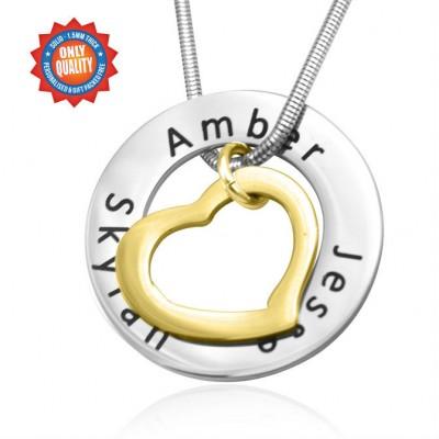 Personalisierte Herz Washer Halskette ZWEI TON Gold, Silber,