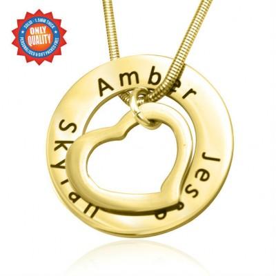 Personalisierte Herz Washer Halskette 18 karätigem Gold überzogen
