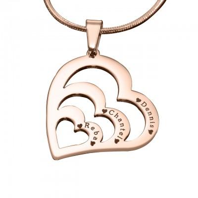 Personalisierte Herzen der Liebe Halskette 18ct Rose Gold überzogen