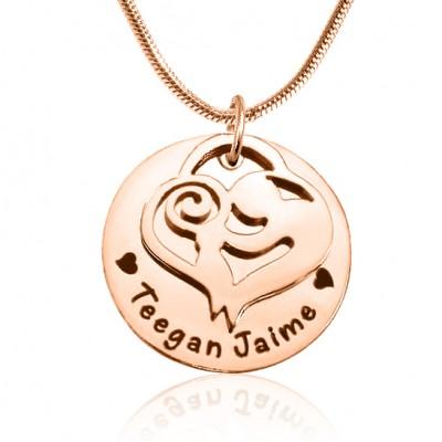 Personalisierte Mutter Disc Einzel Halskette 18ct Rose Gold überzogen