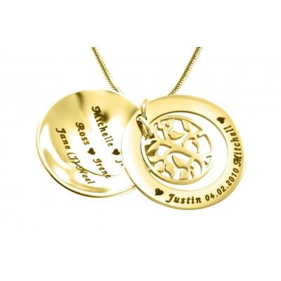 Mein Stammbaum Dome Halskette Personalisierte 18 karätigem Gold überzogen