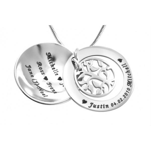 Mein Stammbaum Dome Halskette Personalisierte Sterling Silber