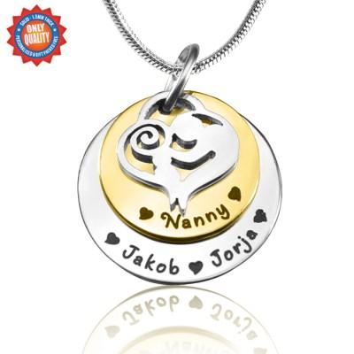 Personalisierte Mutter Disc Doppel Halskette Two Tone Gold, Silber,