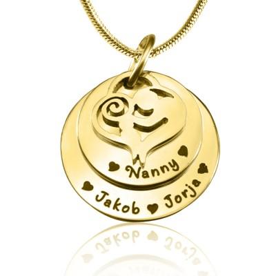 Personalisierte Mutter Disc Doppel Halskette 18 karätigem Gold überzogen