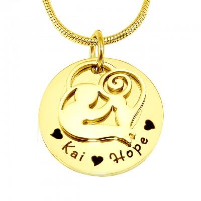 Personalisierte Mutter Disc Einzel Halskette 18 karätigem Gold überzogen