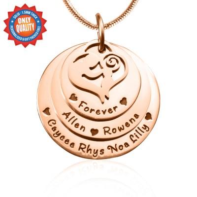 Personalisierte Mutter Disc Triple Halskette 18ct Rose Gold überzogen