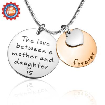 Personalisierte Mutter immer Halskette Zwei Ton Rose Silber