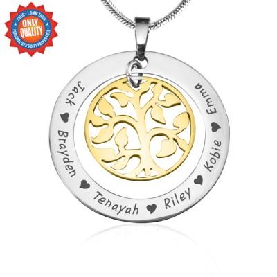 Mein Stammbaum Halskette Personalisierte Zwei Ton Goldbaum