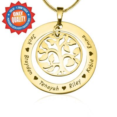 Personalisierte My Family Tree Halskette 18 karätigem Gold überzogen