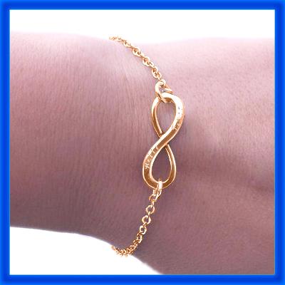 Personalisierte Klassische Infinity Armband / Fußkette 18ct Rose Gold überzogen