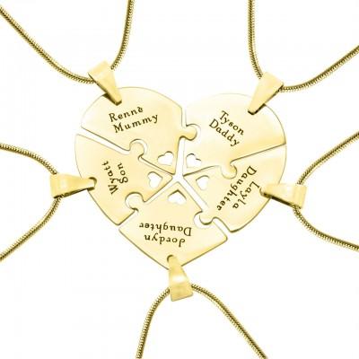 Personalisierte Penta Herz Puzzle Fünf Personalisierte Ketten