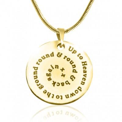 Personalisierte Strudel der Zeit Disc Halskette 18 karätigem Gold überzogen