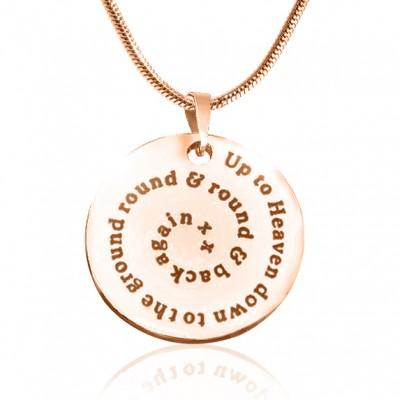 Personalisierte Strudel der Zeit Disc Halskette 18ct Rose Gold überzogen