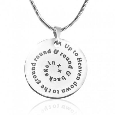 Personalisierte Strudel der Zeit Disc Halskette Sterling Silber