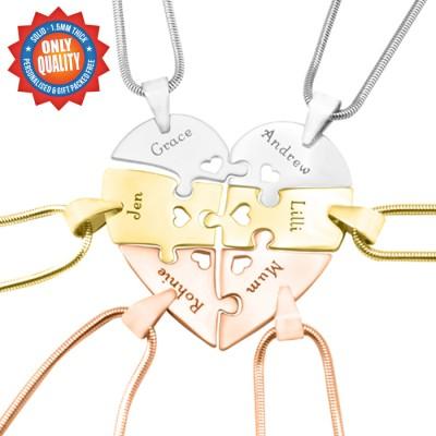 Personalisierte Hexa Herz Puzzle Halskette