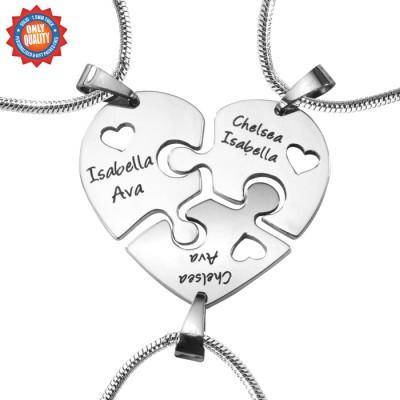Personalisierte Dreifaches Herz Puzzle Drei Personalisierte Ketten